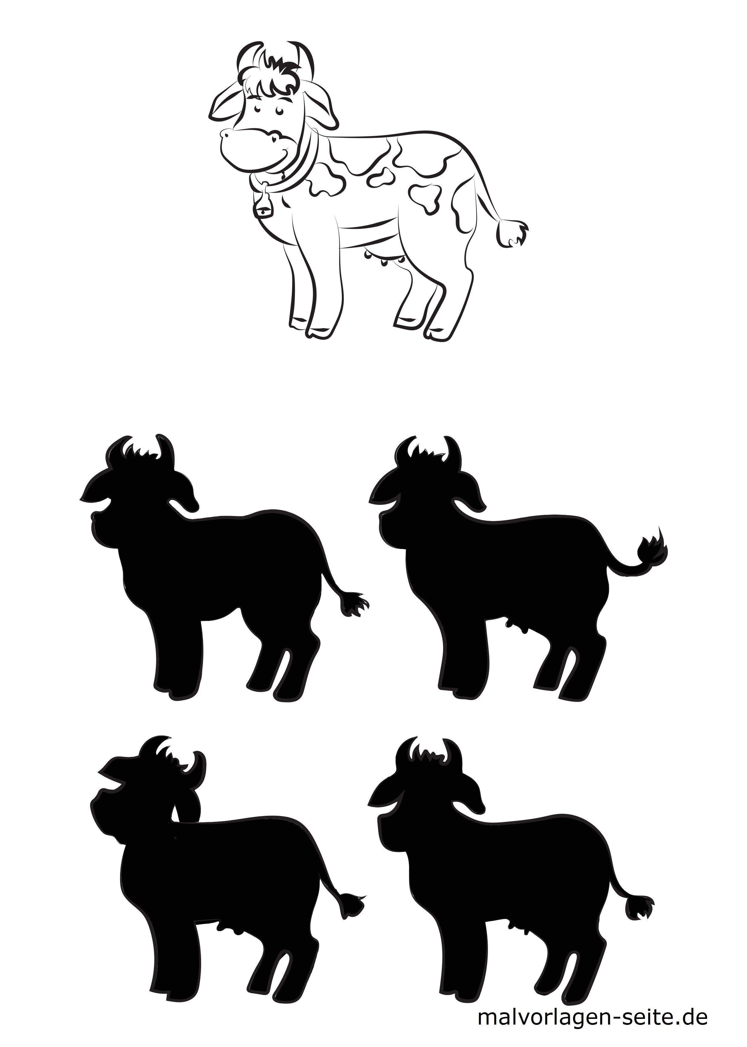 Schattenrätsel Tiere Kuh