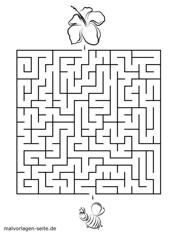 Maze template for children - bee and blossom