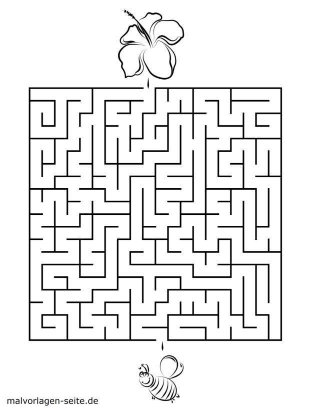 Labyrinth Vorlage für Kinder – Biene und Blüte