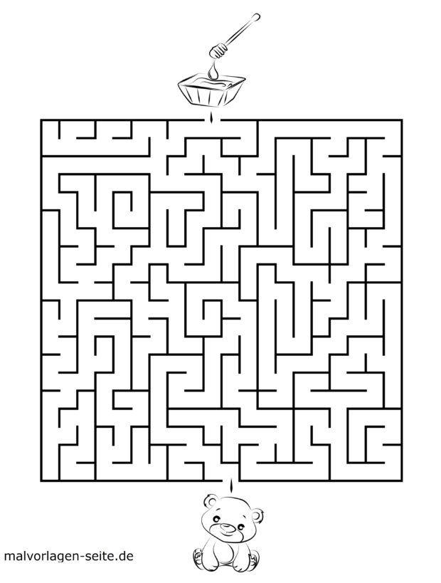 Maze template for kids - bear and honey