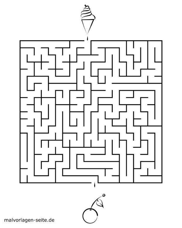Maze template for kids - cherry & ice cream