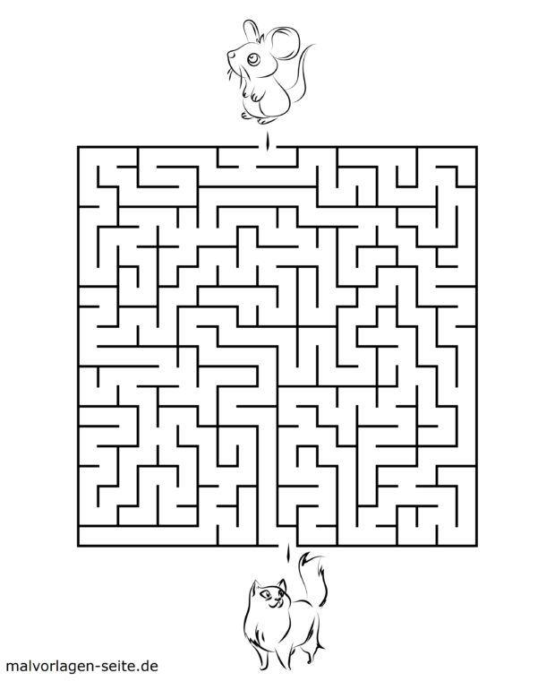 Maze template for kids - cat & mouse