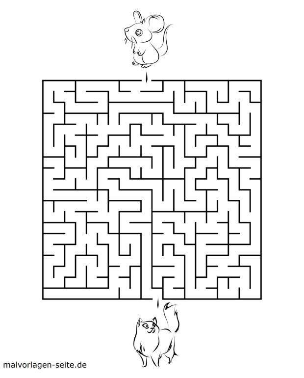 Labyrinth Vorlage für Kinder – Katze & Maus