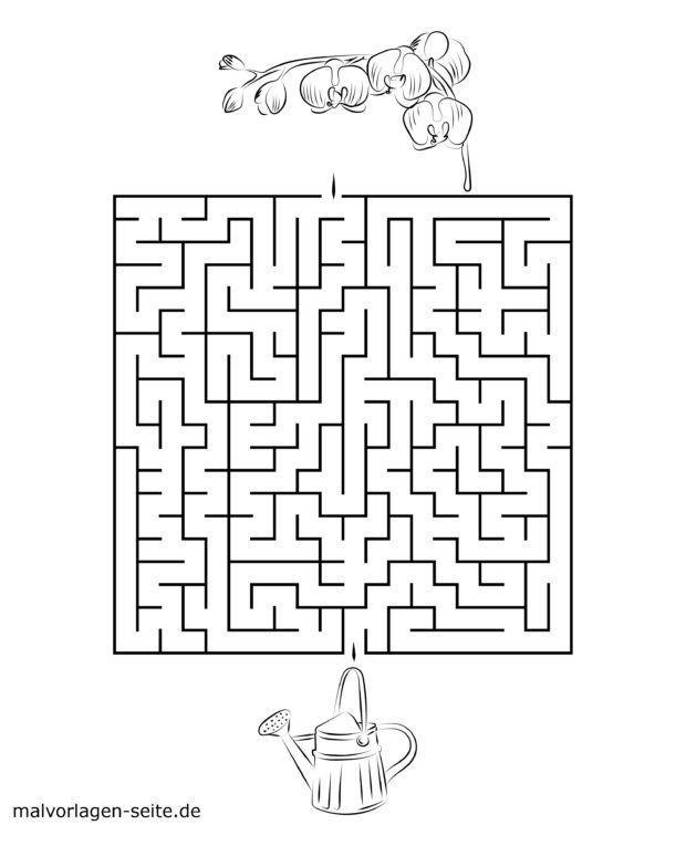 Labyrinth Vorlage für Kinder – Gießkanne & Orchidee