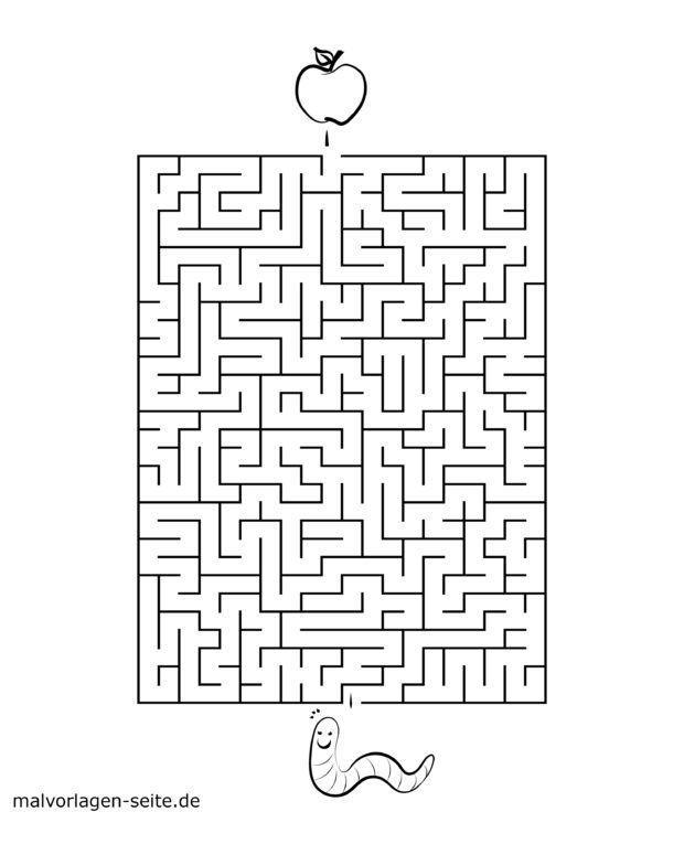 Finde den Weg durch das Labyrinth - Apfel & Wurm