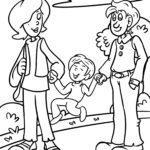 Malvorlage Familie spazieren