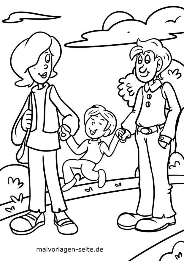 Coloring page family goes for a walk