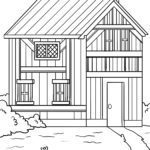 Coloring page half-timbered house | building