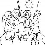 Coloring page kids with europe flag