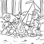 Coloring page Campfire | vacation