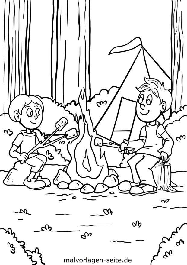 Coloring page campfire