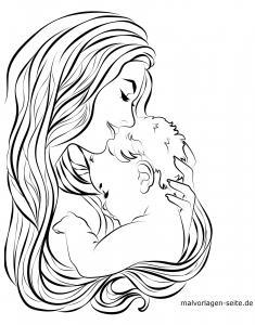 Coloring page mother and baby