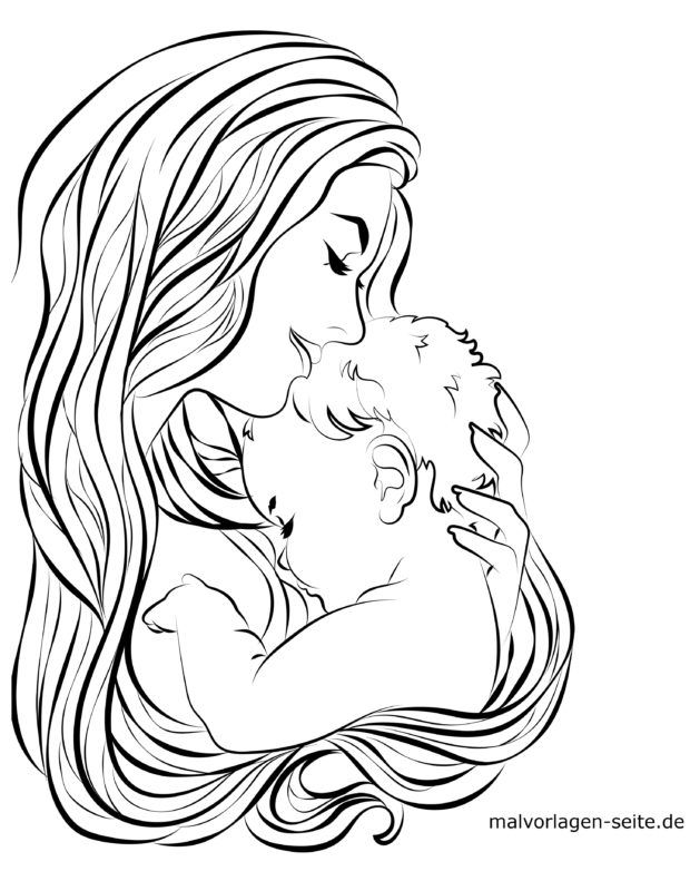 Malvorlage Mutter und Baby