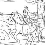 Coloring page princess on horseback