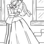 Coloring page Princess kisses prince