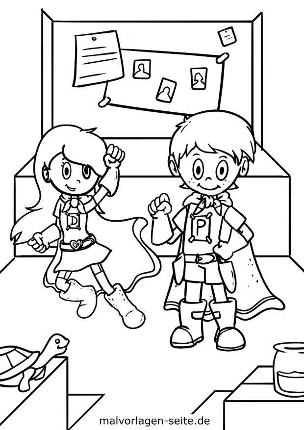 Coloring page superhero kids