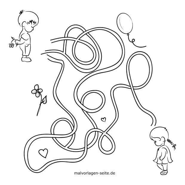 labyrinth - finde den weg - kostenlose ausmalbilder