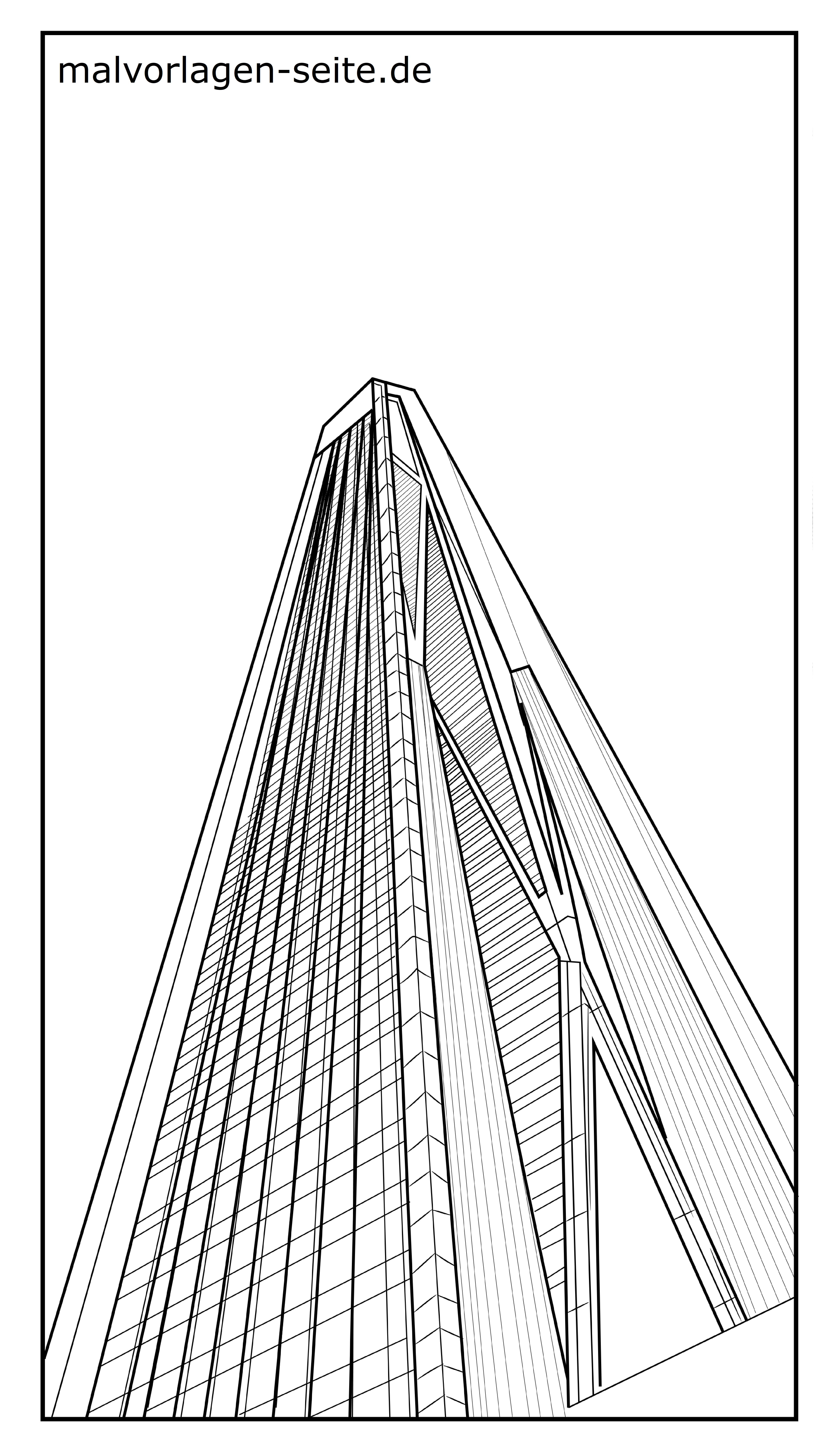 Malvorlage Hochhaus  Gebäude - Kostenlose Ausmalbilder