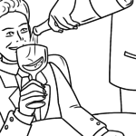 Coloring page drinking alcohol