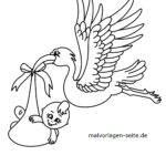 Coloring page stork with baby