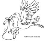 Coloring page stork brings baby