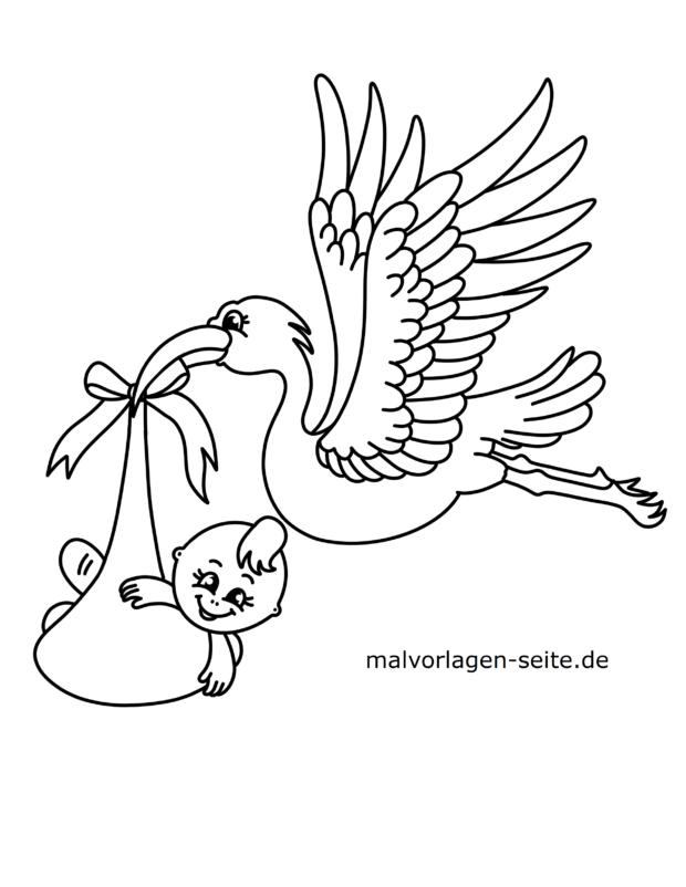 Malvorlage Storch Mit Baby