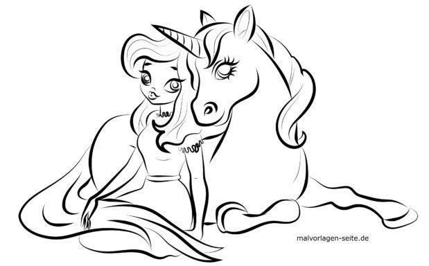 Malvorlage Prinzessin Und Einhorn