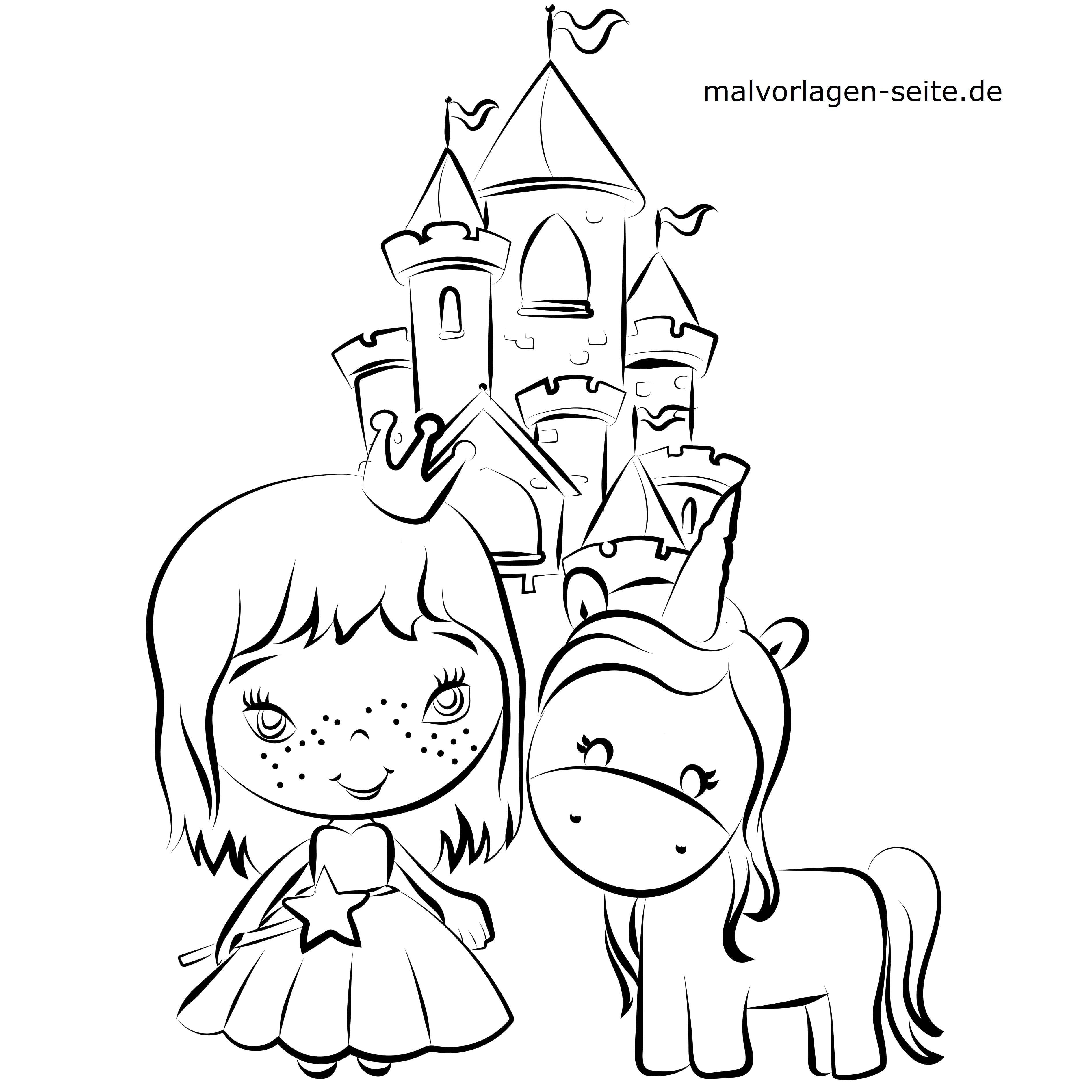 Malvorlage Einhorn Und Prinzessin