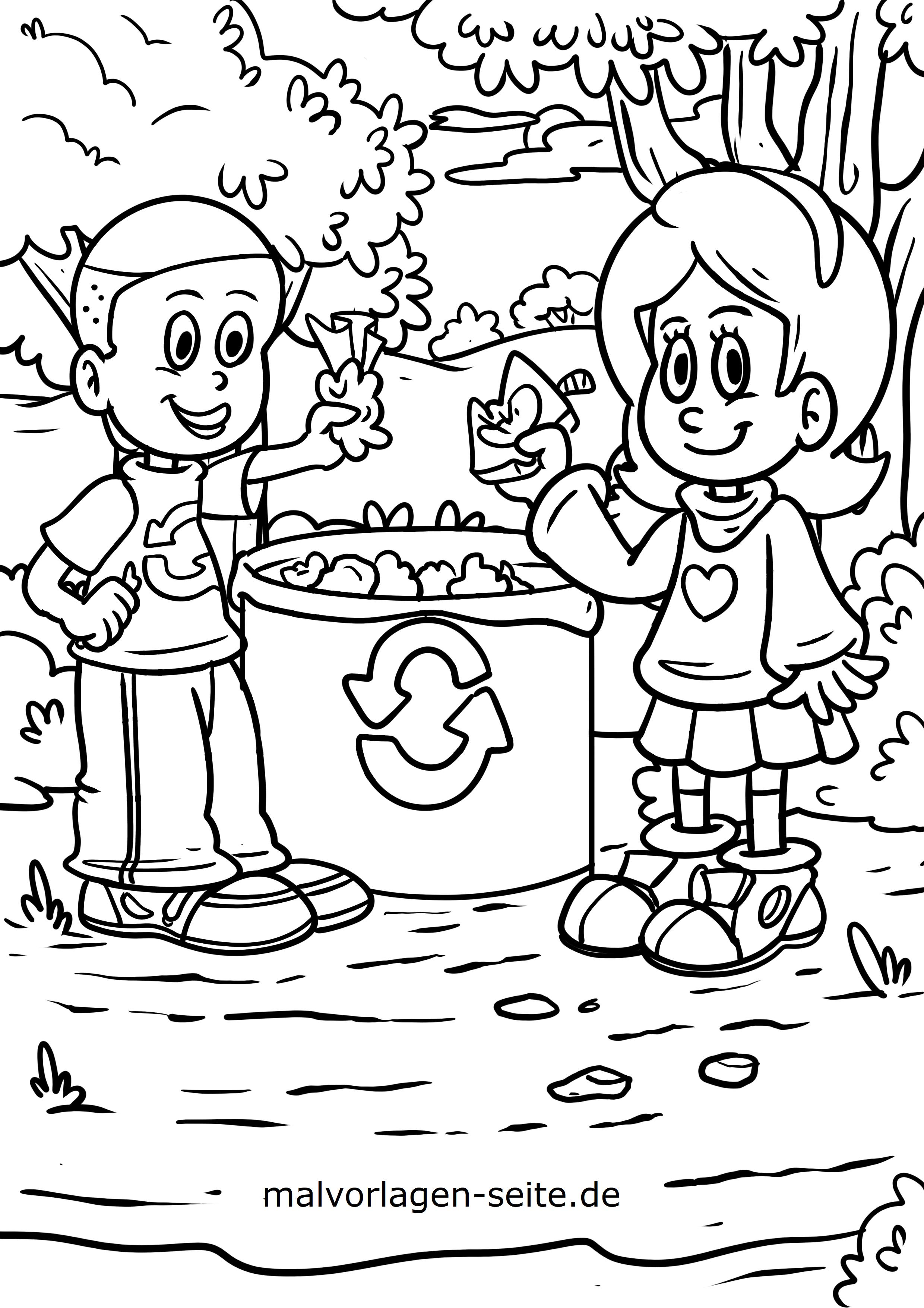 Ausmalbilder / kindgerechte Malvorlagen Umweltschutz und Recycling