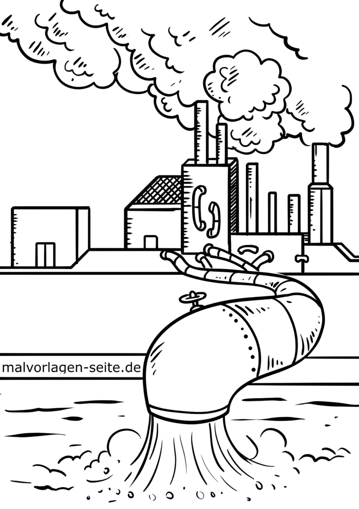 malvorlage umweltverschmutzung industrie  kostenlose