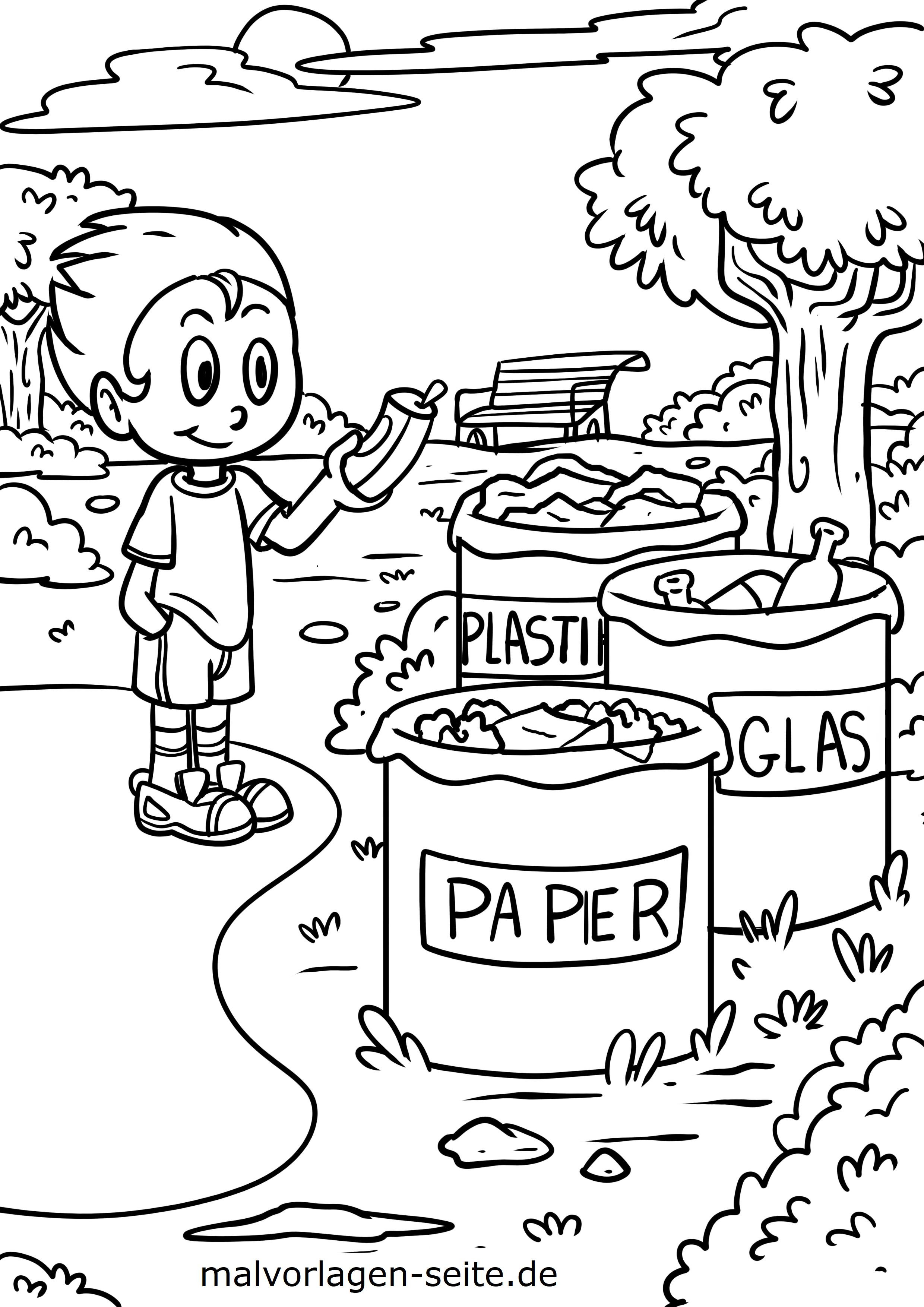 Malvorlage Umweltschutz Mülltrennung - Kostenlose Ausmalbilder