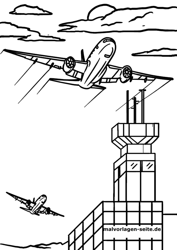 Coloring page air pollution by flying
