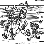 Coloring page environmental protection garbage on the beach