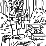 Coloring page environmental waste separation