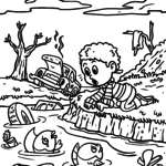 Coloring page environmental protection water environment