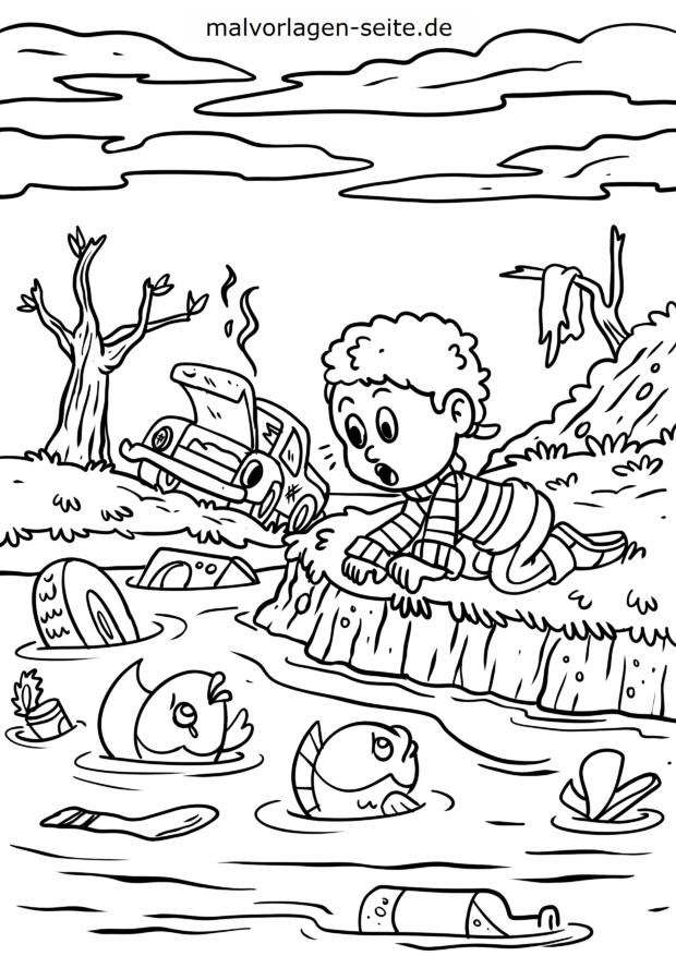 Dibujo Para Colorear Protección Del Medio Ambiente Contaminación Del