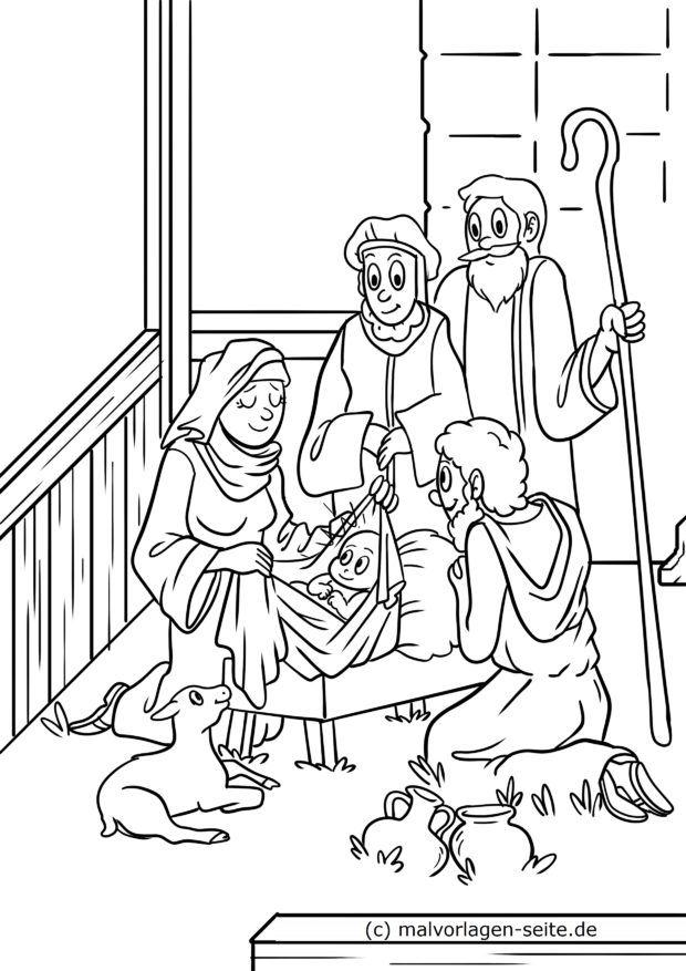 Coloring page Christmas / Nativity Nativity scene in Bethlehem