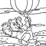Coloring page Bear with balloons