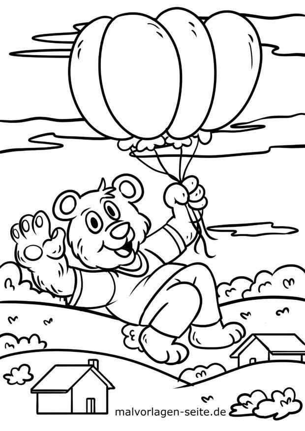 דף צביעה דובי עם בלונים