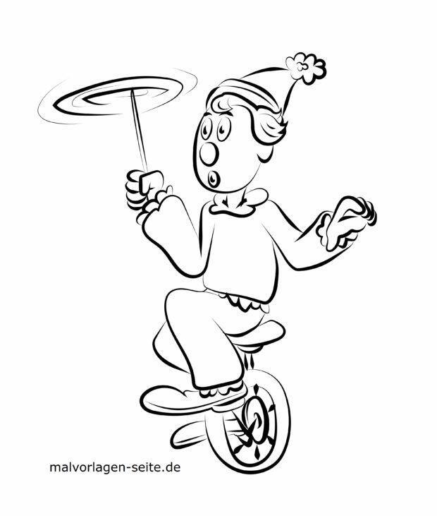 Slika bojanja klaun žonglira u cirkusu