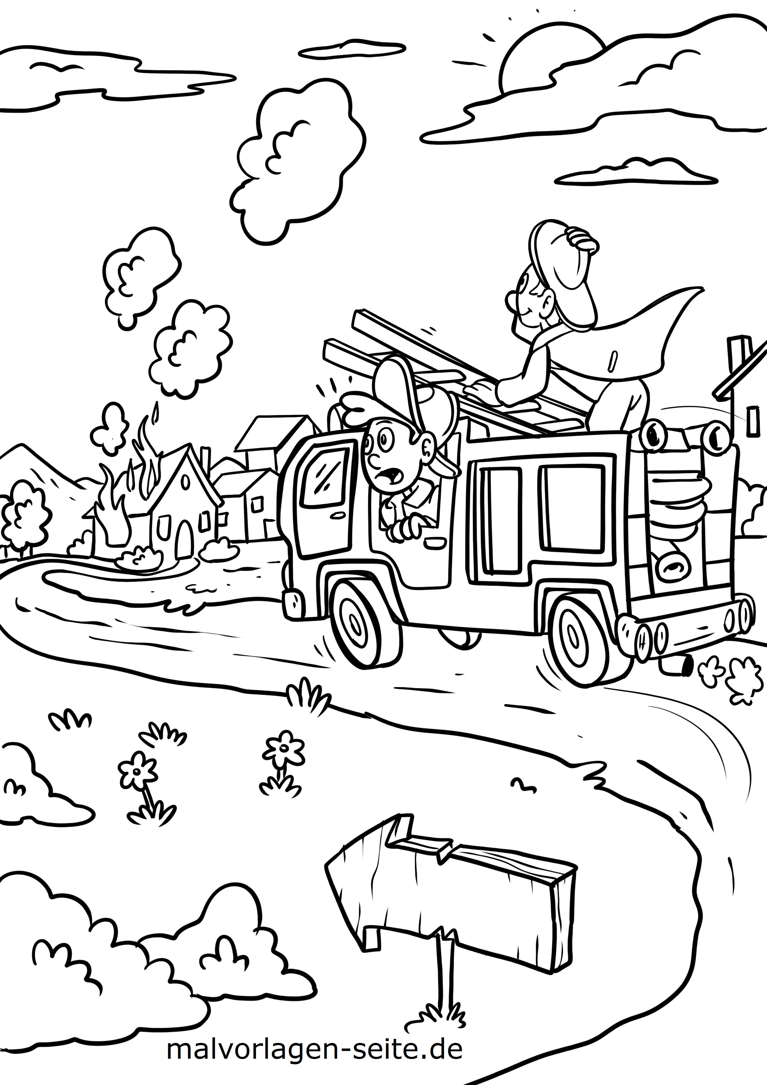 malvorlage feuerwehrauto skizze