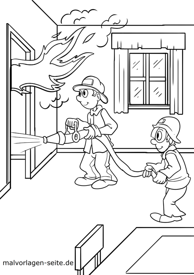 Coloring page fire department Zimmerbrand