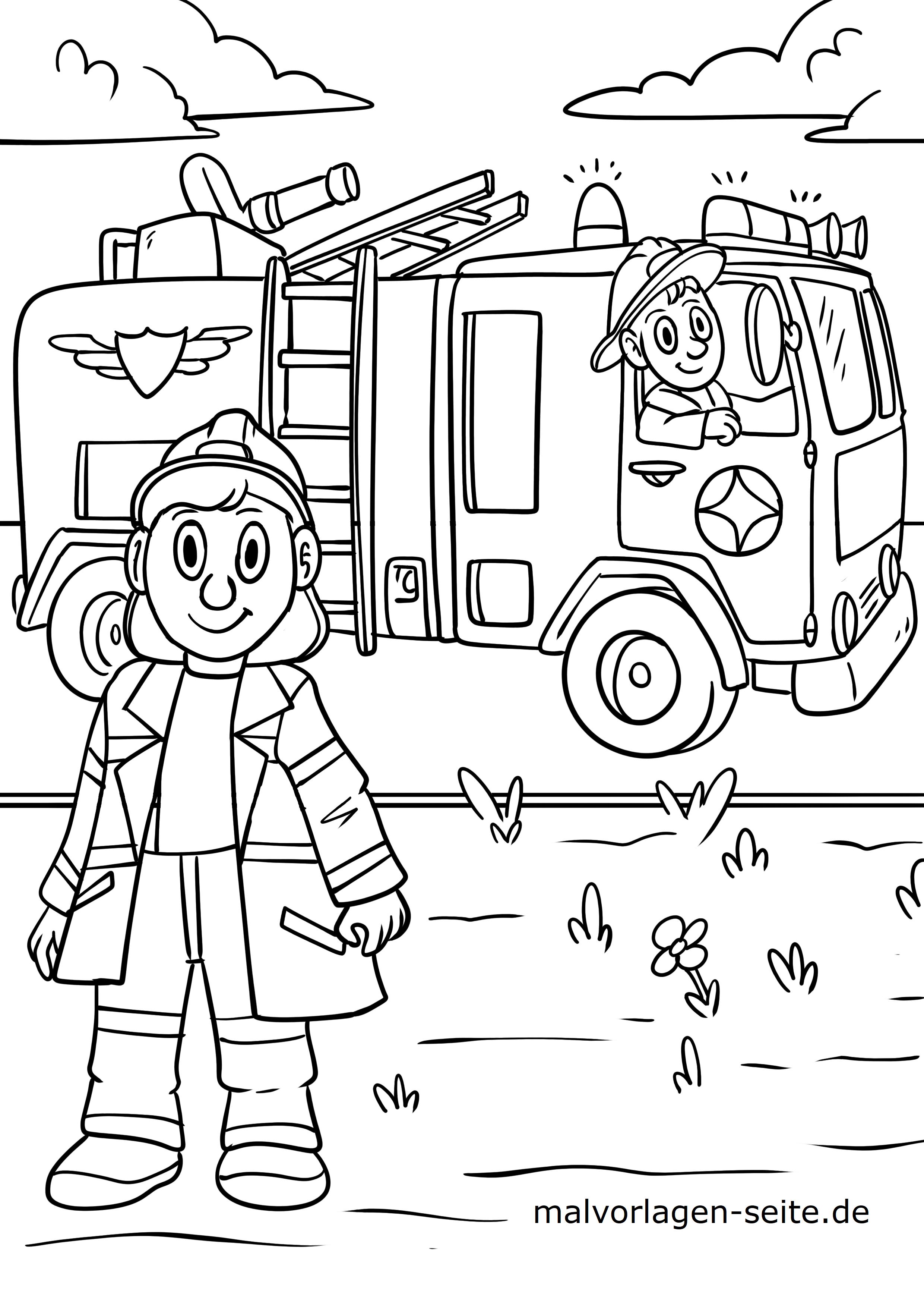 Malvorlage Feuerwehr - Kostenlose Ausmalbilder