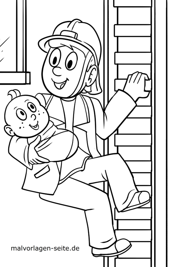 Coloring page Firefighter saves baby