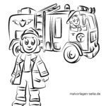 Coloring page fire department