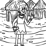 Coloring page girl in africa for coloring for children