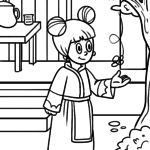Coloring page girl in asia for coloring for children