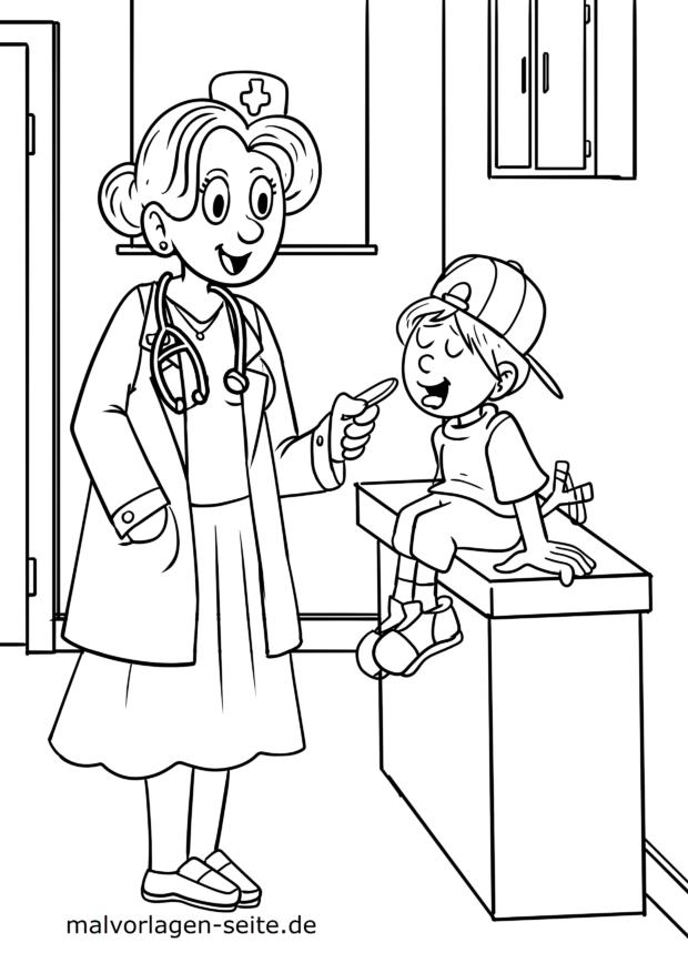 Ausmalbild Ärztin