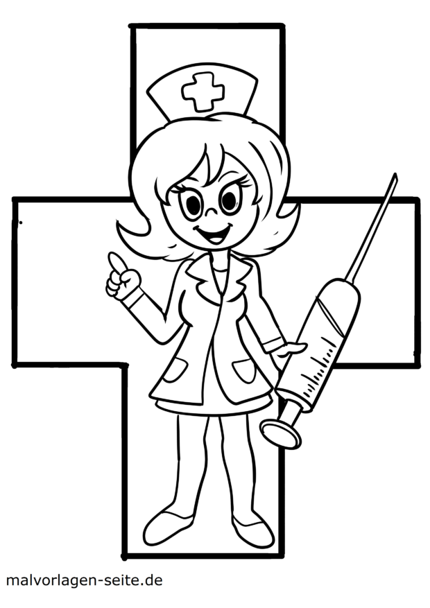 Coloring picture doctor syringe