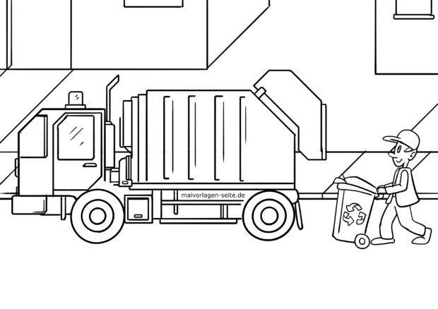 Coloring page garbage truck / garbage truck / garbage disposal